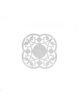 Filigrane rosace 31mm 4 trous plaqué argent