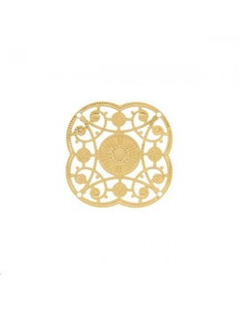 Filigrane rosace 31mm 4 trous doré