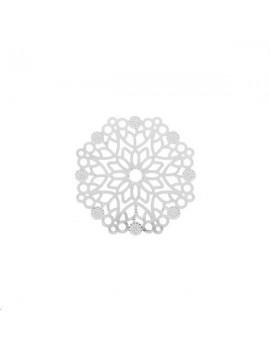 Filigrane rosace fleur 29mm plaqué argent
