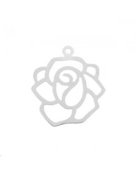 Filigrane fleur 19mm 1 anneau plaqué argent