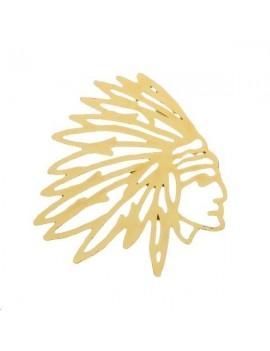 Filigrane tête d'indien 30x32mm doré