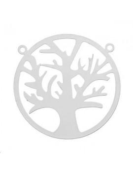 Filigrane cercle arbre 28mm 2 anneaux plaqué argent