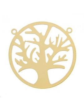Filigrane cercle arbre 28mm 2 anneaux doré