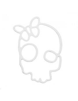 Filigrane tête de mort papillon 30x20mm plaqué argent