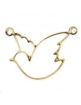 Filigrane colombe 20x18mm 2 anneaux doré
