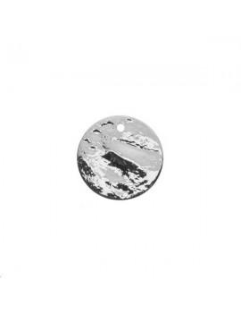 Pampille plate bosselée 15mm plaqué argent