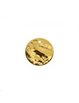 Pampille plate bosselée 15mm doré