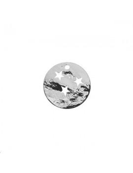 Pampille ronde martelée étoile 15mm