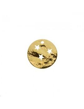 Pampille ronde martelée étoile 15mm 1 trou doré