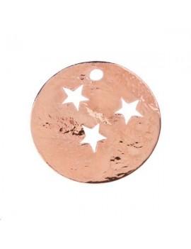 Pampille ronde martelée étoile 15mm 1 trou or rose