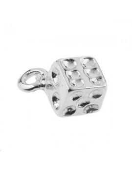 Pampille dé 1 anneau 6mm plaqué argent
