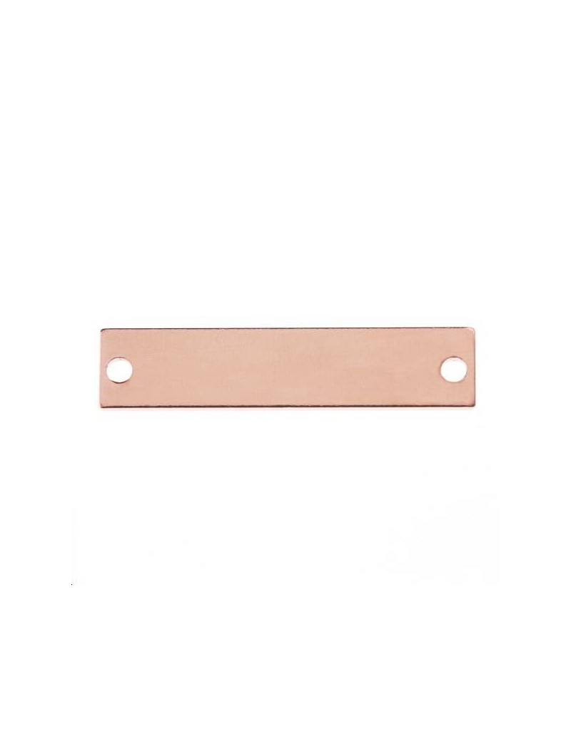 Rectangle 22x5mm 2 trous or rose