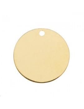 Pampille ronde 16mm 1 trou doré