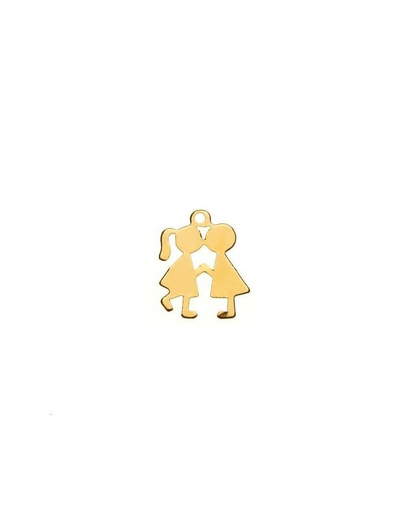 Couple amoureux 15x12mm 1 anneau doré