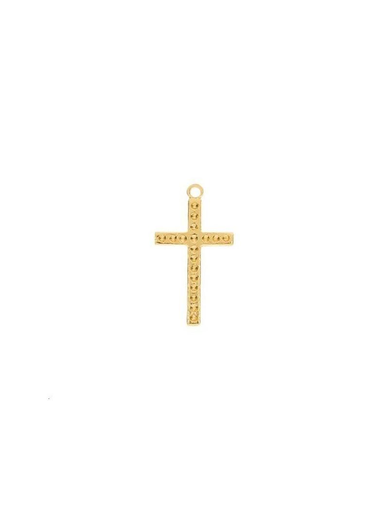 Croix à strasser 17x10mm 1 anneau doré
