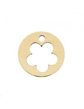 Pampille fleur évidée 10mm 1 trou doré