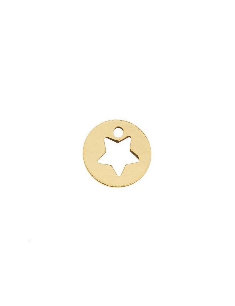 Pampille étoile évidée 7mm 1 trou doré