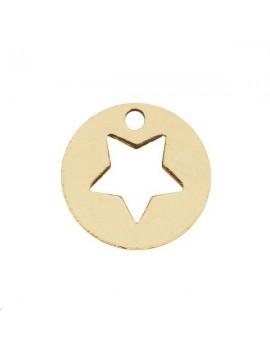 Pampille étoile évidée 10mm 1 trou doré