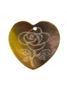 Nacre noire coeur rose gravé