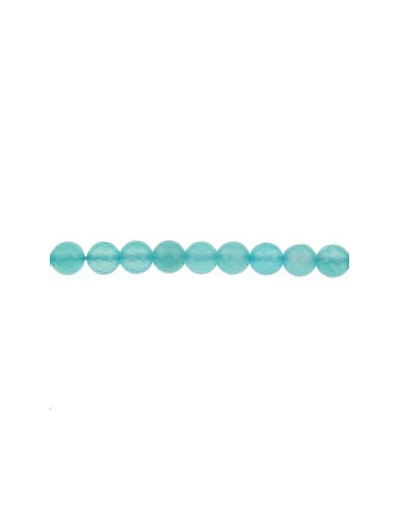 Calcédoine ronde facettes 7,5mm bleu mer lot de 2 pièces