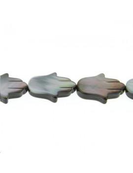 Nacre main de fatma grise 15x21mm vendue par rang de 40cm