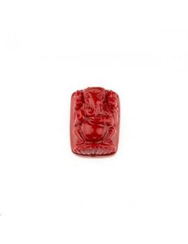 Ganesh bambou corail sur résine rectangle 9x12mm 1 trou rouge carmin