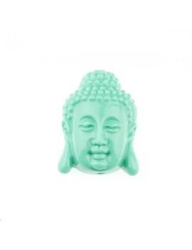 Bouddha serein bambou corail sur résine 15x20mm 1 trou turquoise