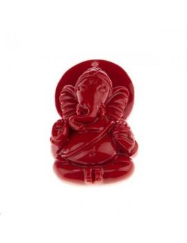 Ganesh bambou corail sur résine pendentif 16x25mm 1 trou rouge carmin