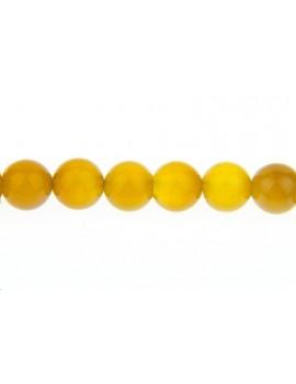 Jade rond coloré 6mm jaune vendu par rang de 40cm
