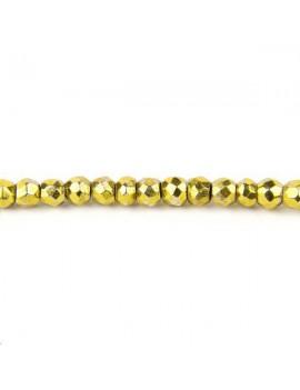 Pyrite rondelle facettes 3-4mm doré vendue par rang de 40cm