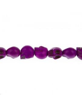 Howlite teintée tête de mort 10mm violet lot de 1 pièce