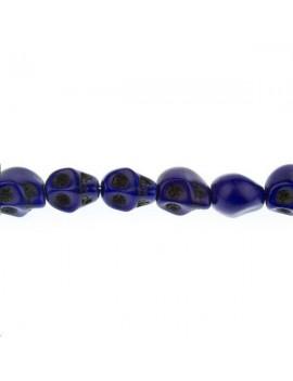 Howlite teintée tête de mort 10mm bleu foncé lot de 1 pièce