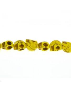 Howlite teintée tête de mort 10mm jaune lot de 1 pièce