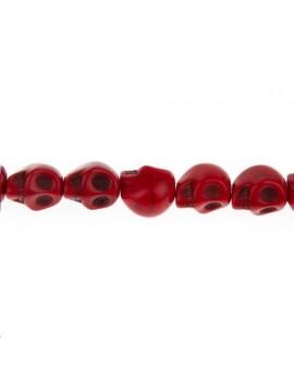 Howlite teintée tête de mort 10mm rouge lot de 1 pièce