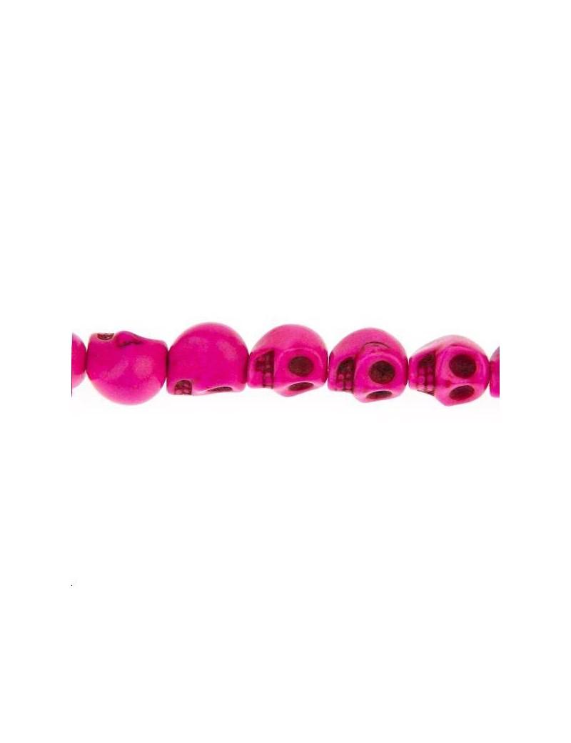 Howlite teintée tête de mort 10mm rose  lot de 1 pièce