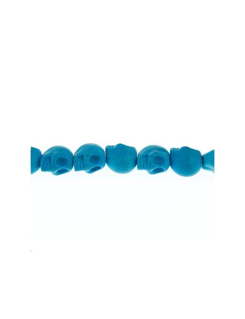 Howlite teintée tête de mort 10mm turquoise foncé lot de 1 pièce