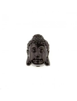 Bouddha serein bambou corail sur résine 10x15mm 1 trou noir