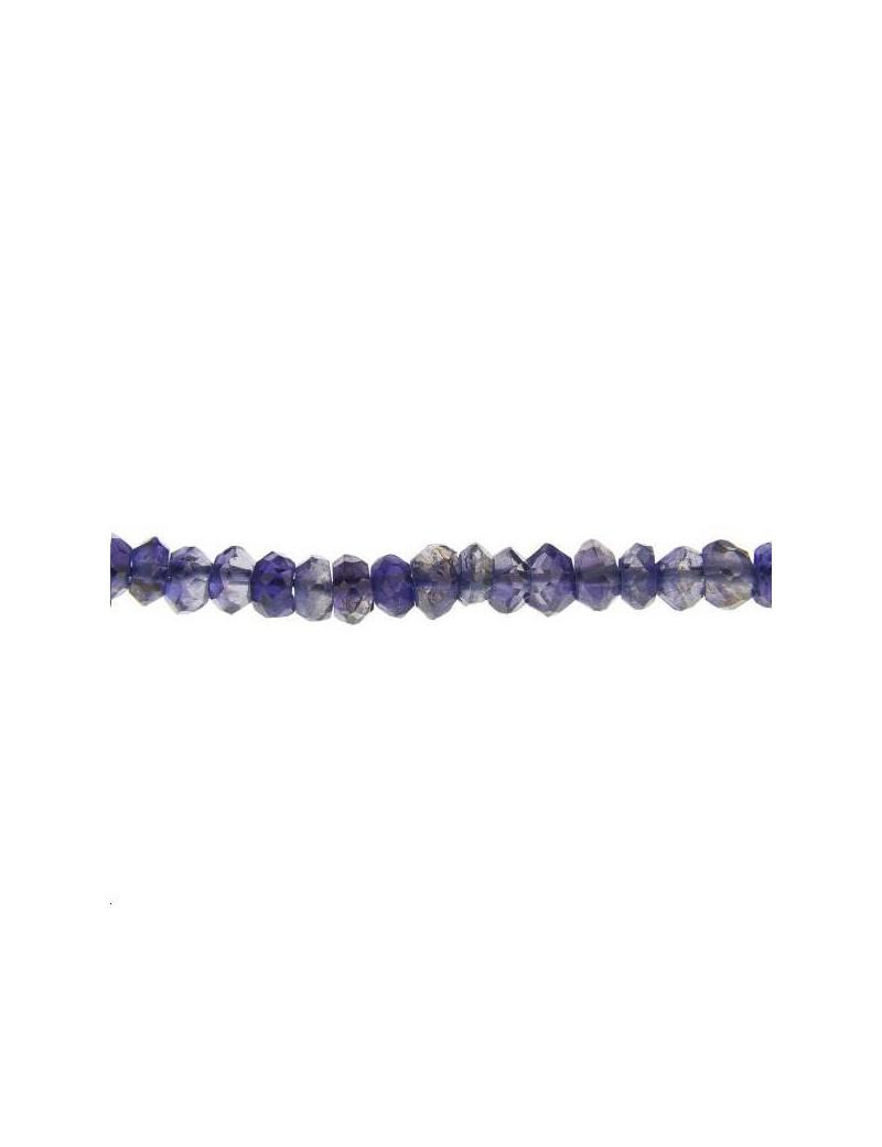 Tanzanite rondelle facettes 4mm bleue lot de 5cm (environ 12 perles)
