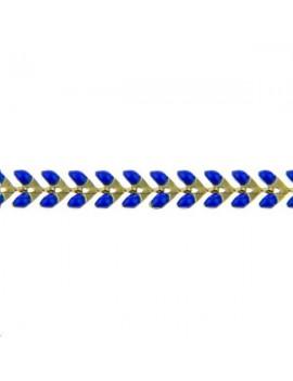 Chaîne laiton émaillée V 6mm blue vendue au mètre