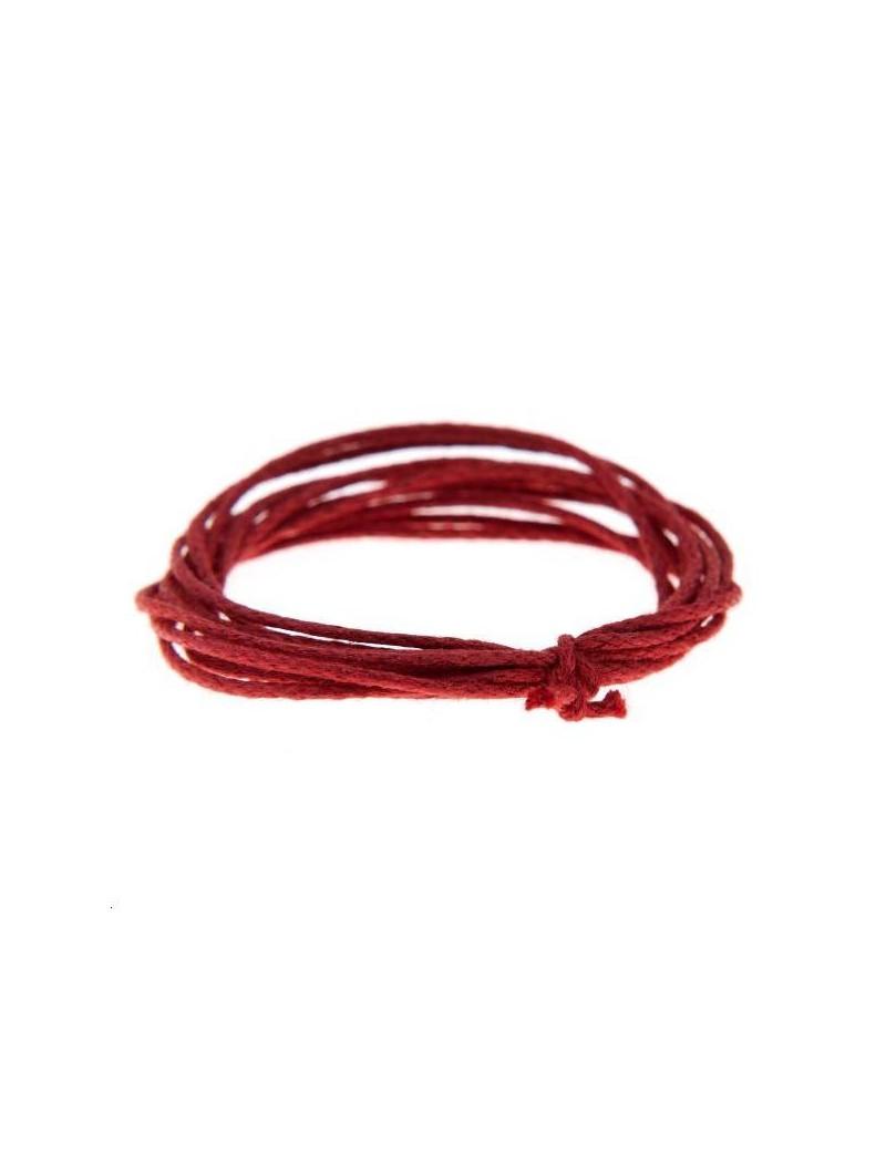 Coton ciré rond 0,7mm rouge vendu au mètre