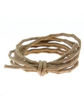 coton ciré ondulé 2-2,5mm marron vendu au mètre