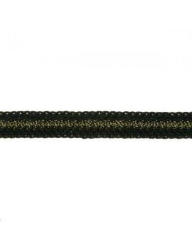 Galon métallisé plat 8mm noir vendu au mètre