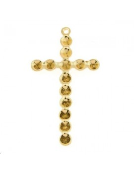 Pendentif croix à strasser (strass pp18) 1 anneau 30x16mm doré