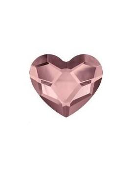 Heart flat back 6mm crystal antique pink foiled