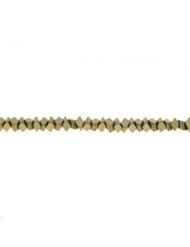 Hématite losange 3x1,5mm doré clair vendue par rang de 40cm