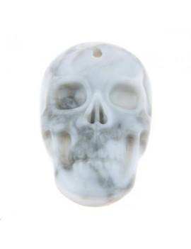 Howlite pendentif tête de mort 16x24mm