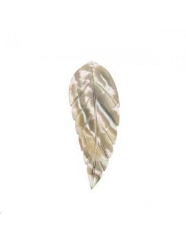 Nacre pendentif feuille 20x53mm beige