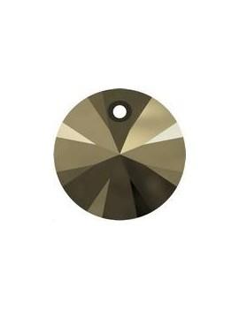 Pendentif rond xilion 1trou 8mm crystal metallic light gold 2x