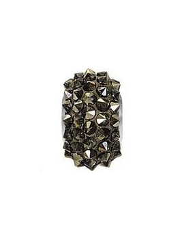 Pavé Bead 15x9mm crystal metallic light gold