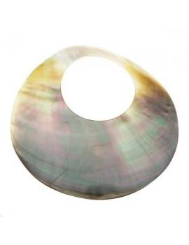 Nacre noire pendentif rond 61-70mm